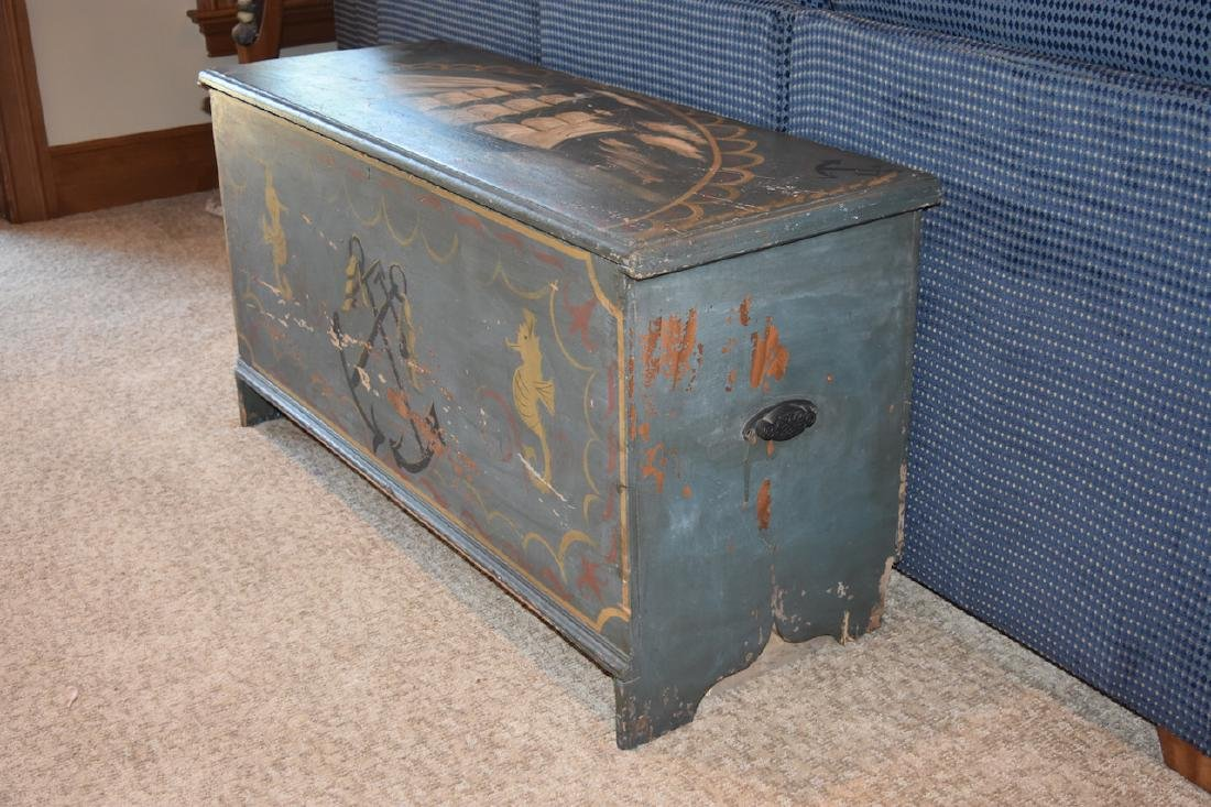 Old Wood Nautical Themed Hand Painted Trunk - 8