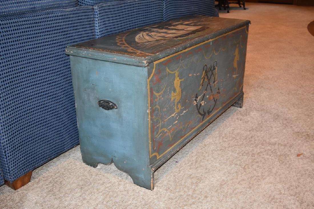 Old Wood Nautical Themed Hand Painted Trunk - 9