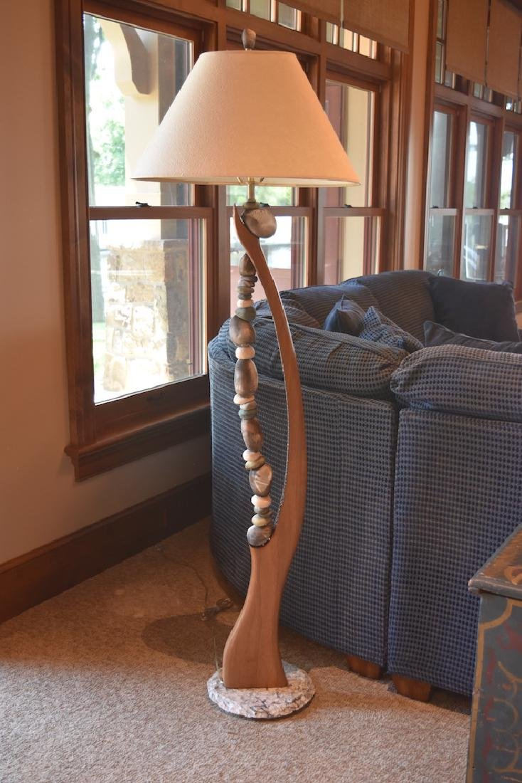 Jan Jaque Signed Stone Harp Floor Lamp