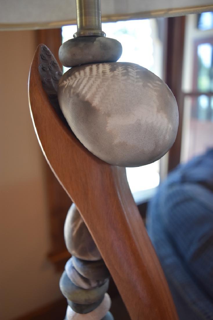 Jan Jaque Signed Stone Harp Floor Lamp - 3