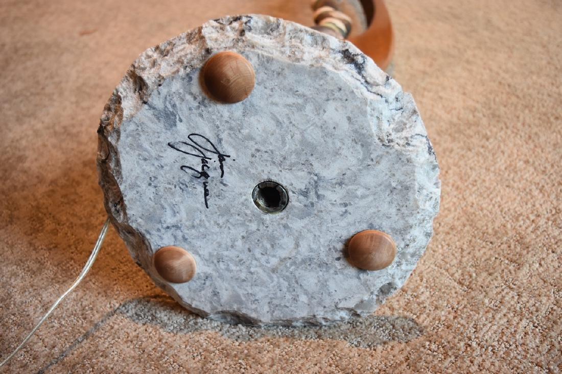 Jan Jaque Signed Stone Harp Floor Lamp - 8