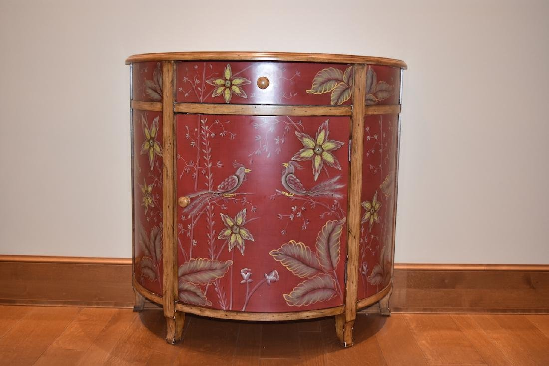 Crescent Entry Cabinet Hand Painted w/ Asian Bird
