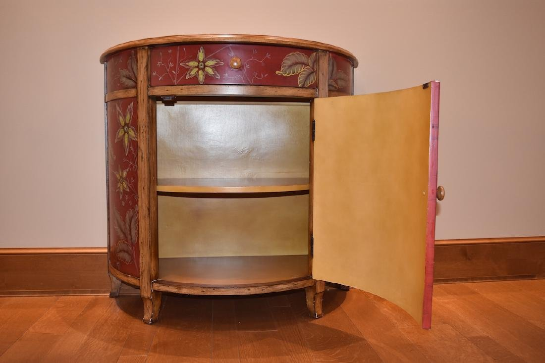 Crescent Entry Cabinet Hand Painted w/ Asian Bird - 3