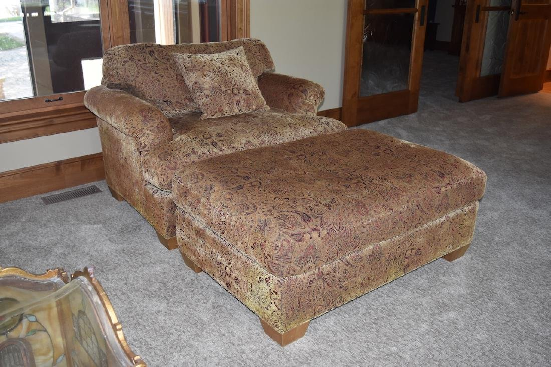Oversized Upholstered Chair W/ Ottoman