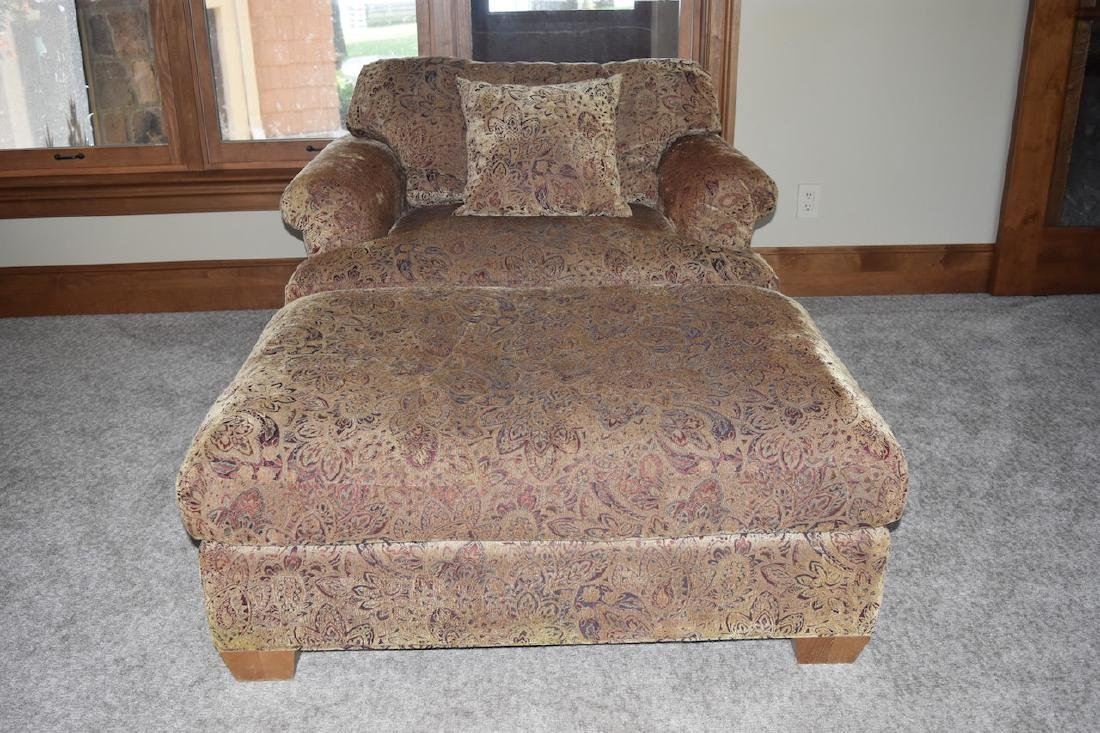 Oversized Upholstered Chair W/ Ottoman - 2
