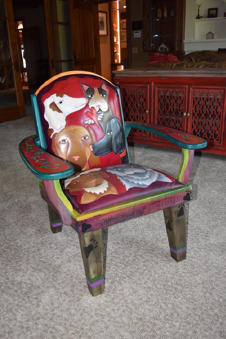 Sticks Furniture Co. Arm Chair Hand Painted W/ Dogs