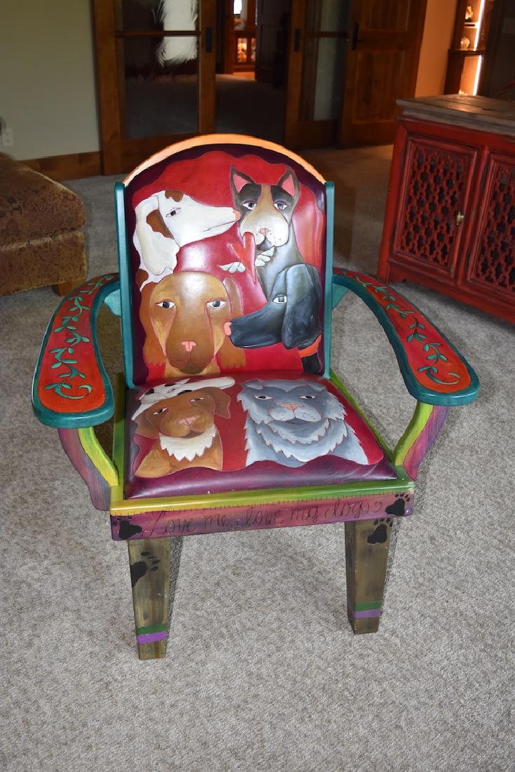 Sticks Furniture Co. Arm Chair Hand Painted W/ Dogs - 2