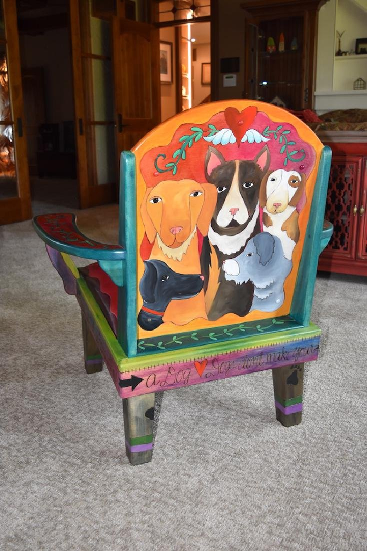 Sticks Furniture Co. Arm Chair Hand Painted W/ Dogs - 4