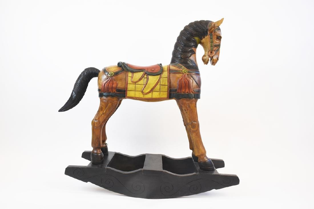 Children's Folk Art Wooden Rocking Horse