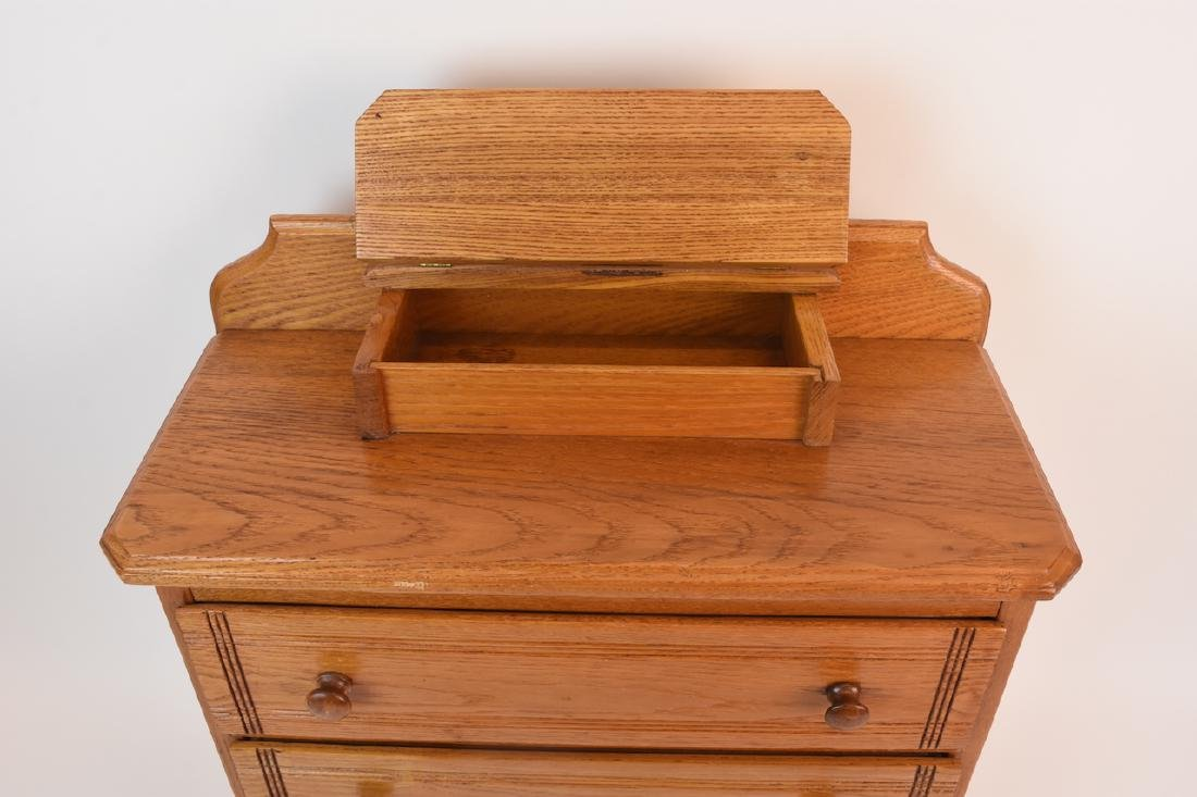 Vintage Oak Doll Size Chest of Drawers - 2