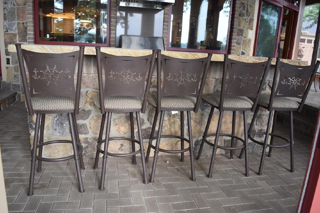 (5) Nautical Themed Swiveling Bar Stools