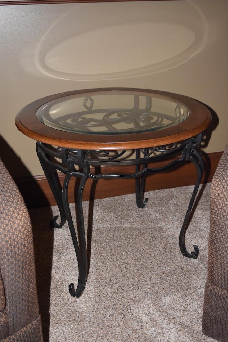 Wrought Iron Round End Table W/ Wood & Glass Top