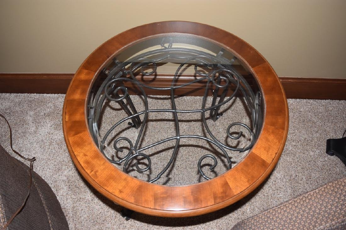 Wrought Iron Round End Table W/ Wood & Glass Top - 3