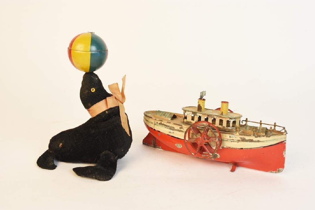 Early Wind-Up Tin Toys; Seal & Steamboat