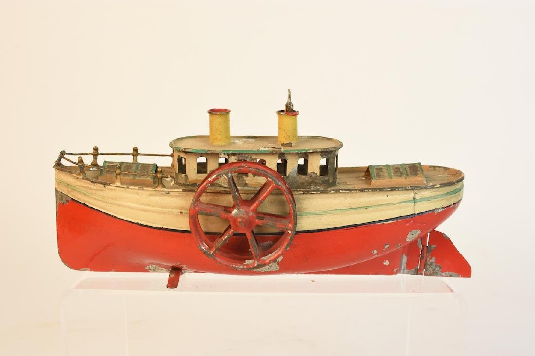 Early Wind-Up Tin Toys; Seal & Steamboat - 8