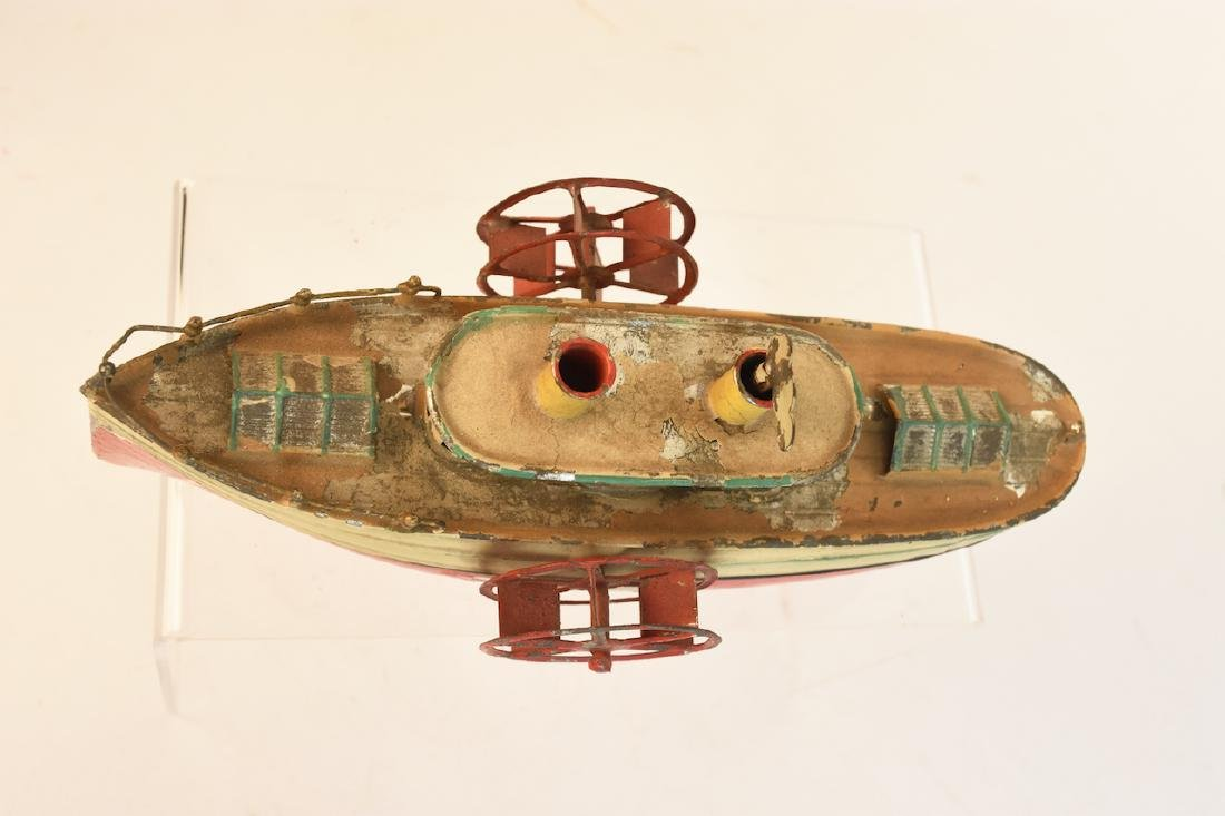 Early Wind-Up Tin Toys; Seal & Steamboat - 9