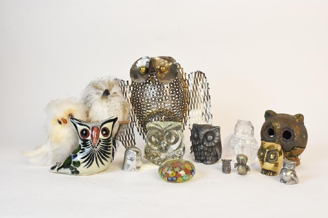 Collection of Owl Figurines & Paperweights