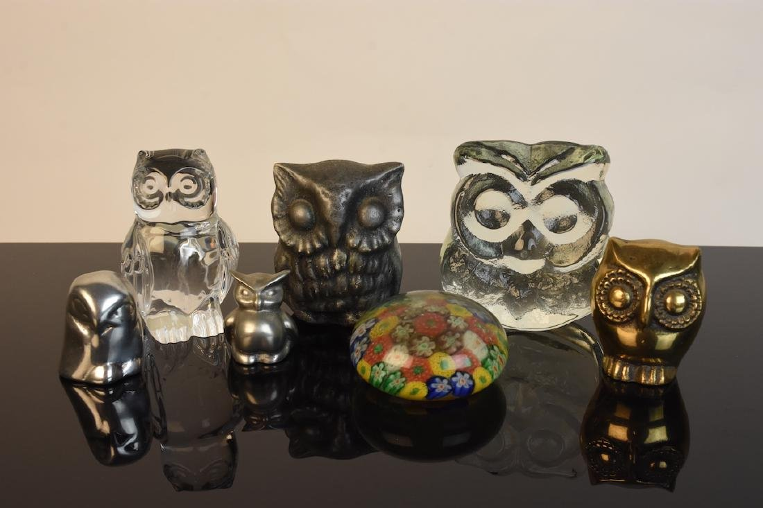 Collection of Owl Figurines & Paperweights - 2
