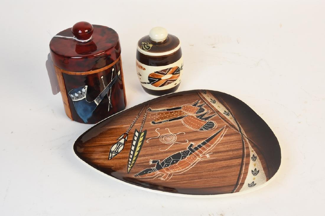 Damman & Italian Lidded Tobacco Jars W/ Plate