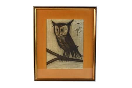 """Bernard Buffet Original Lithograph """"Owl"""""""