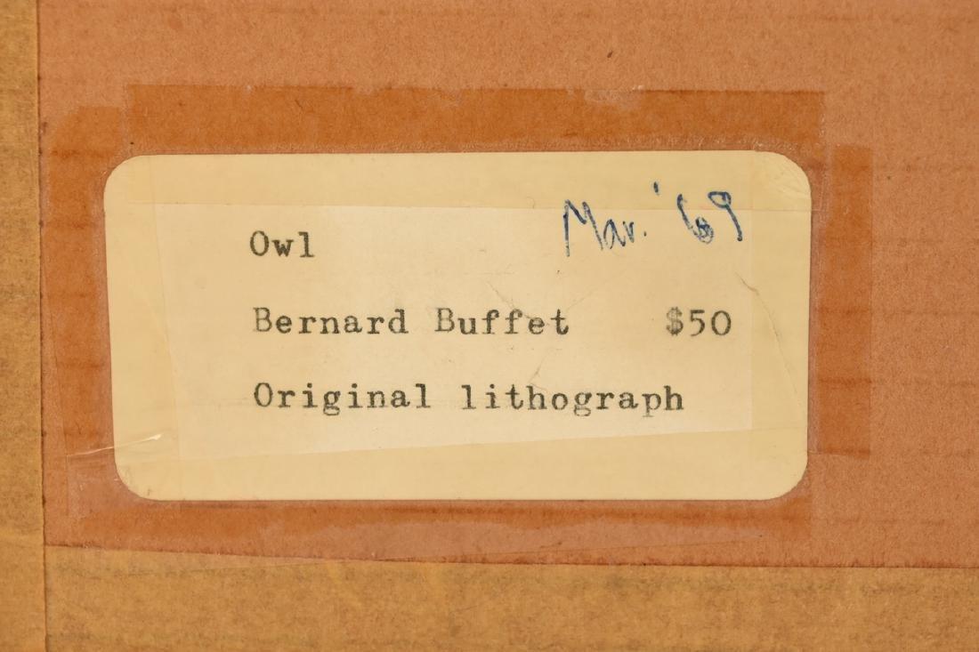 """Bernard Buffet Original Lithograph """"Owl"""" - 4"""