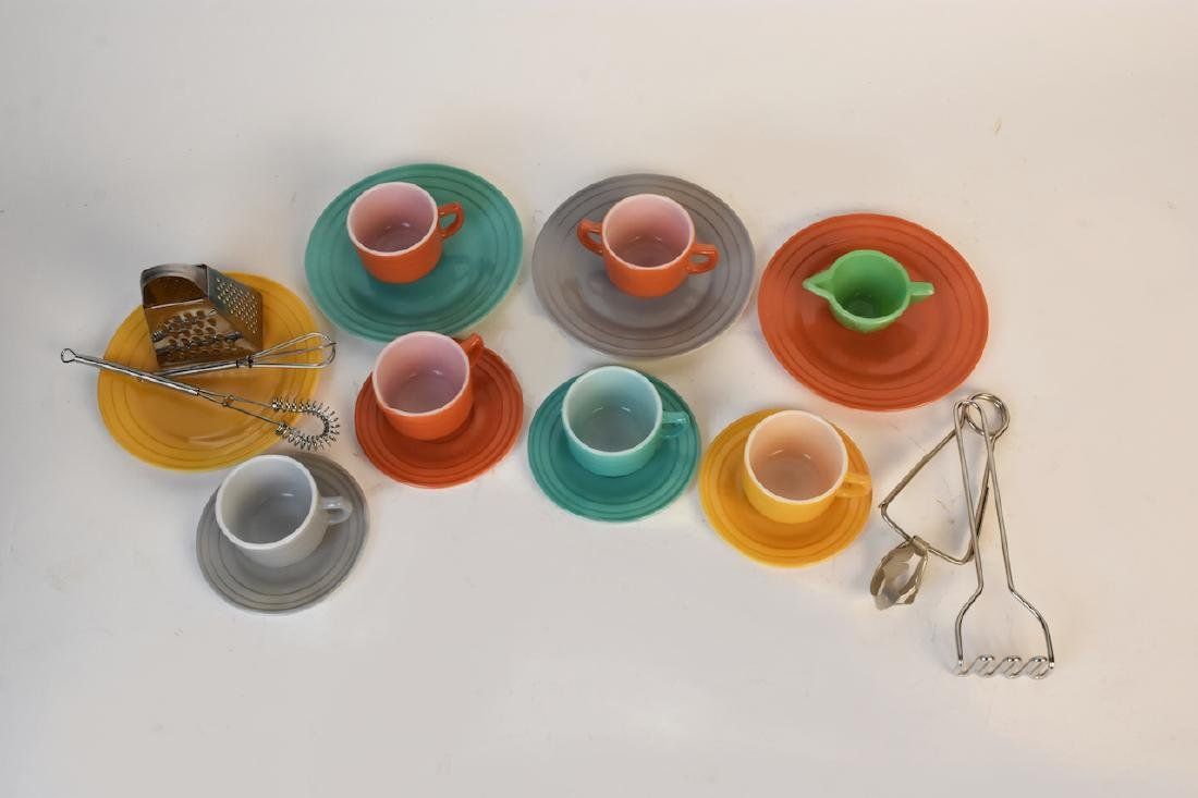 Child's Colorful Tea Set & Miniature Utensils