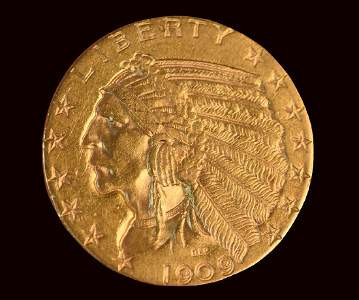 1909 $5 Indian Head Half Eagle Gold Coin
