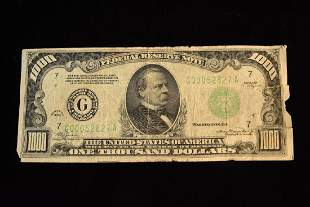 1000 United States Federal Reserve Note 1934