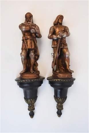 Decorative Ceramic MidEvil Knight Sconces