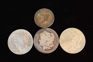 3 Silver Dollars 1964 Kennedy Half Dollar
