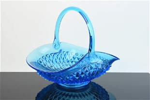 Blue Tiara Glass Diamond Basket