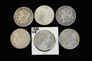 5 Morgan Silver Dollars 1 Peace Silver Dollar