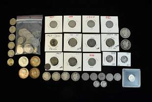 Assorted Coins Silver Dimes Barber Halves