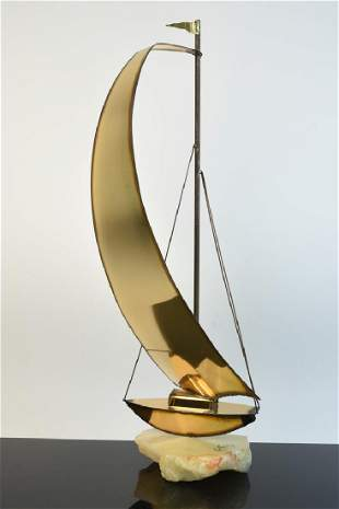 Mario Jason Signed Brass Sailboat Sculpture