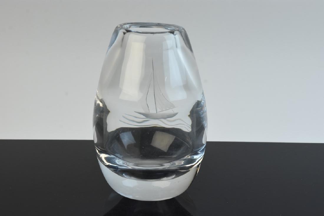 Kosta Boda Crystal Clear Vase w/ Etched Sailboat - 4