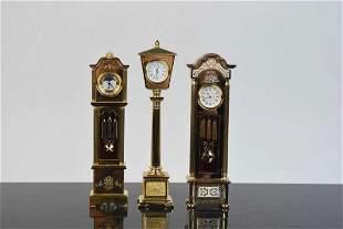3 Miniature Bulova Grandfather Doll House Clocks