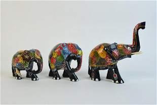 3 Sri Lanka Wood Carved Elephants