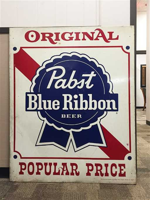 89b7df63ac Large Pabst Blue Ribbon Beer Adv. Sign