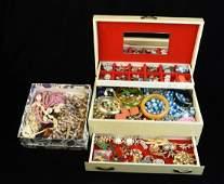 Jewelry Box Full of Costume Jewelry; Lisner +