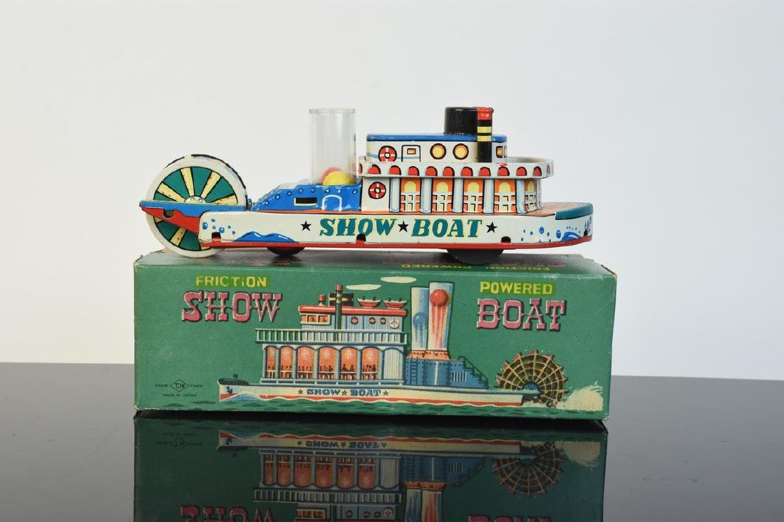 Friction Powered Tin Litho Show-Boat Toy; OB