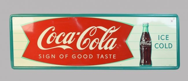 Large Coca-Cola Metal Advertising Sign