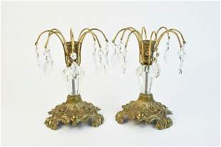 Victorian Style Brass Crystal Candle Holder