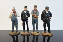 Wood Carved Engineer Figures, Artist Signed
