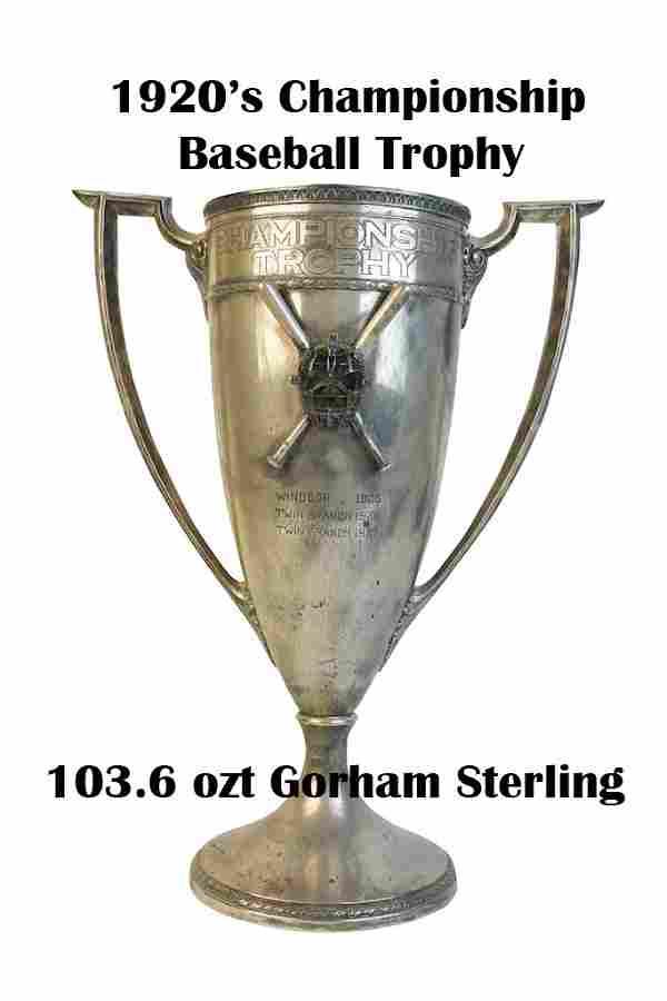 Sterling Gorham Baseball Trophy; 103.6 ozt