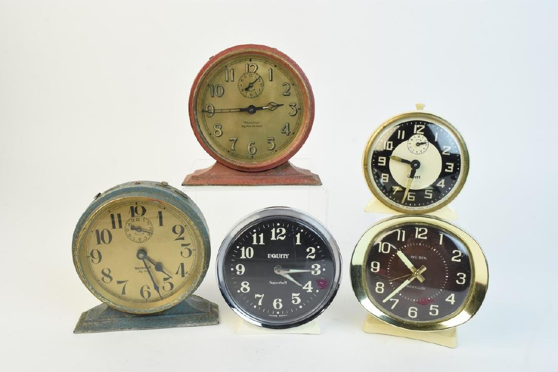 (5) Vintage Desk Top Alarm Clocks