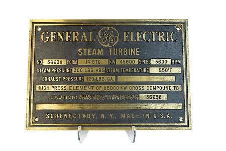 General Electric Steam Turbine Builders Plate