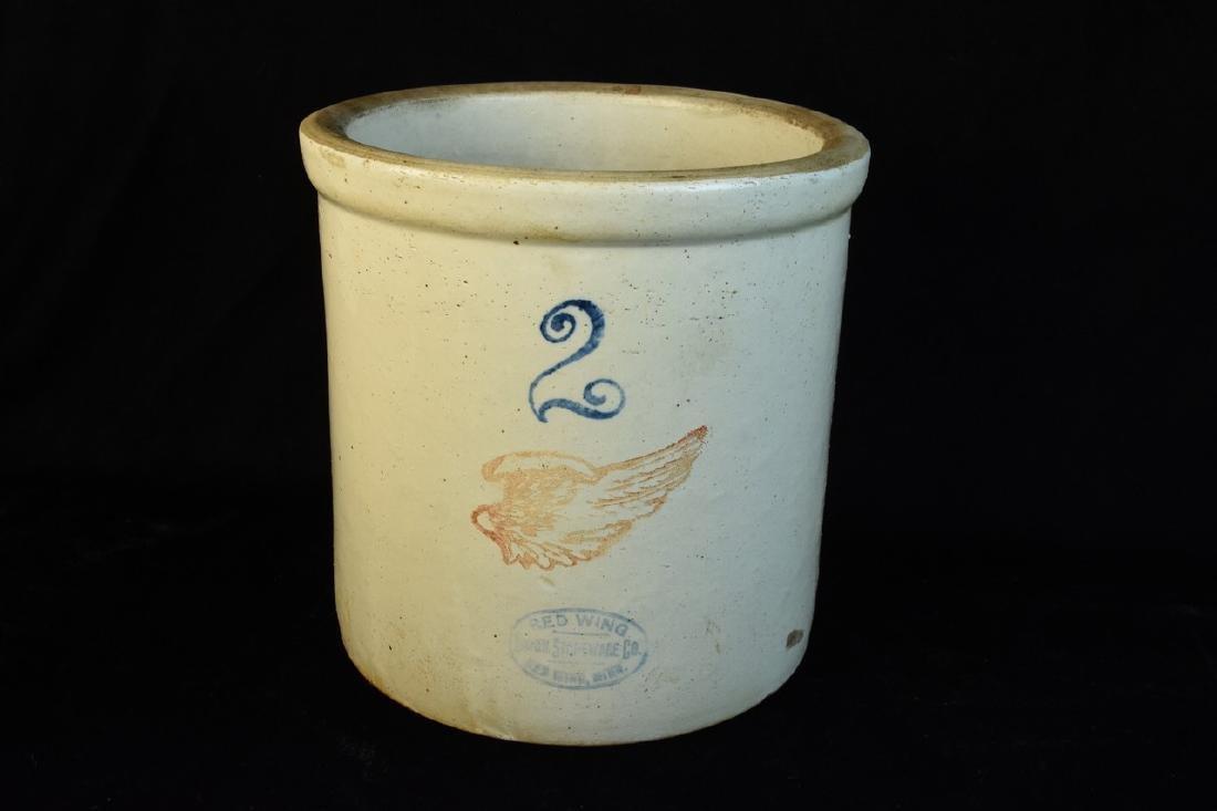 2 gallon Red Wing and (2) Salt Glazed Crocks - 7