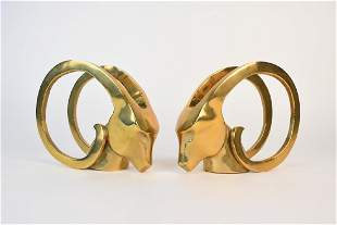 Exaggerated Brass Rams Head Bookends