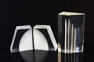Lucite Sculptural Bookends by Astrolite