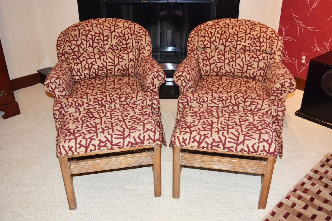 Pair Drexel Upholstered Arm Chairs W/ Ottoman